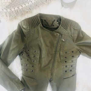 Anthropologie faux leather darn green jacket